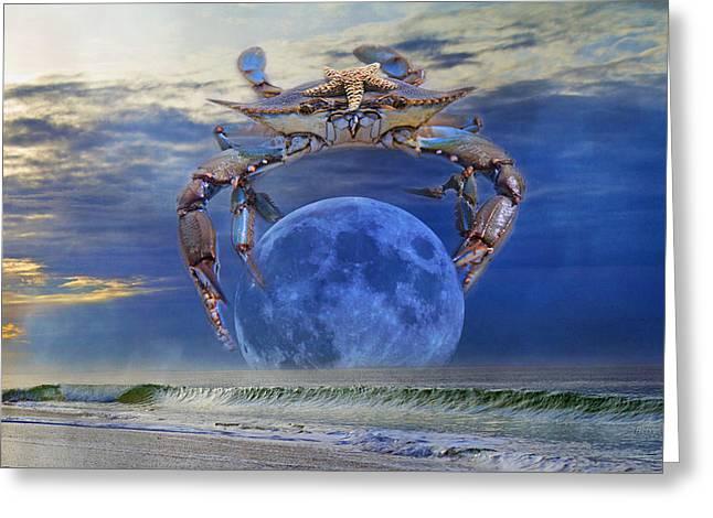 Blue Moon Crab Greeting Card by Betsy Knapp