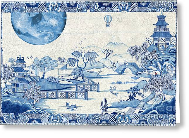Blue Moon Crazed Greeting Card by Colin Thompson