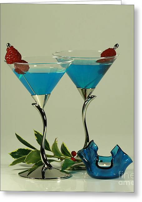 Blue Moon Curacao Cocktails For Two Greeting Card by Inspired Nature Photography Fine Art Photography