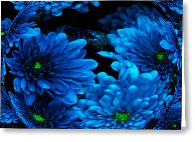 Blue Moon Flower Orb Greeting Card