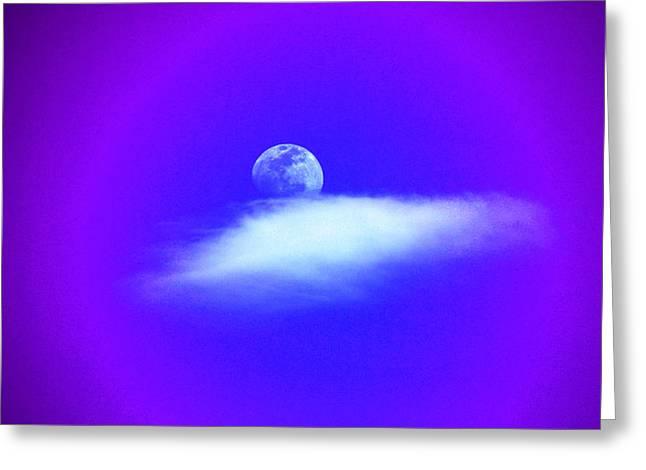 Blue Moon Lavender Sky Greeting Card by Susanne Still