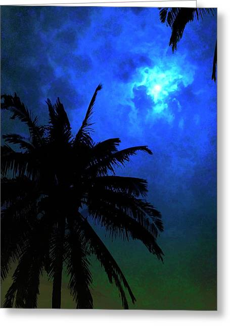 Blue Moon Greeting Card by Mark Garlick/science Photo Library