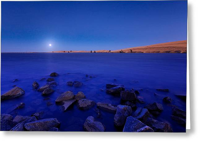 Blue Moon On The Rocks Greeting Card