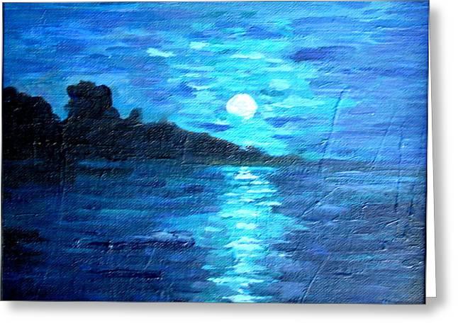 blue moon over lake couer da  lane Idaho Greeting Card by Joseph Hawkins