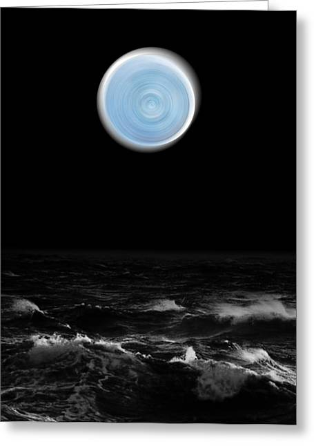 Blue Moon Over The Sea Greeting Card