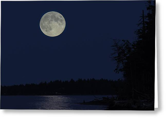 Blue Moon Greeting Card by Randy Hall