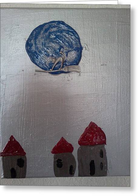 Blue Moon Red Roof Greeting Card