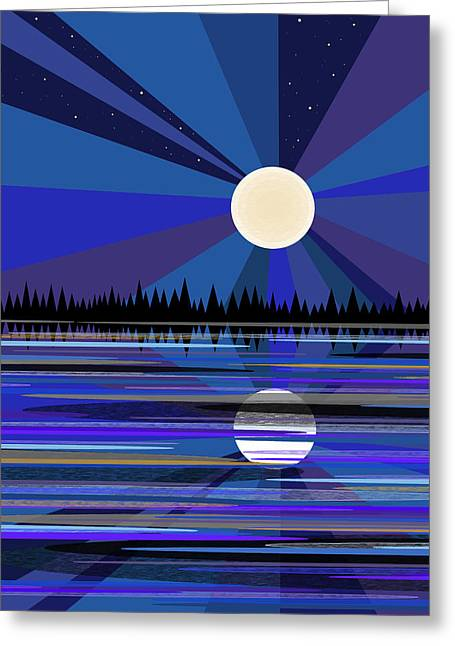 Blue Moon Rise Greeting Card by Val Arie