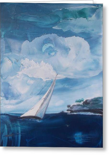 Blue Moon Sail Greeting Card by Danita Cole