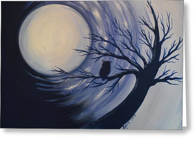 Blue Moon Vortex With Owl Greeting Card