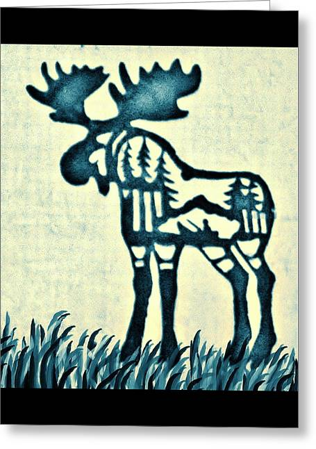 Blue Moose Greeting Card by Larry Campbell