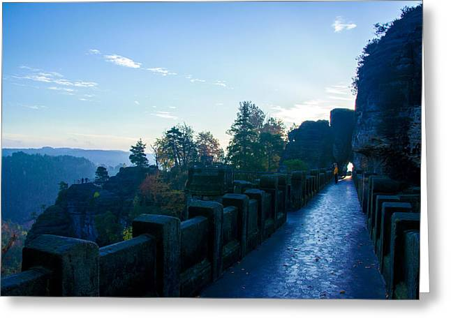 Blue Morning On The Bastei Greeting Card