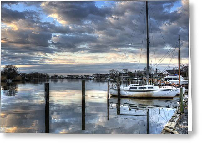 Blue Morning Reflections Greeting Card by Vicki Jauron