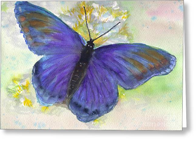 Blue Morph Greeting Card by Jan Freeman