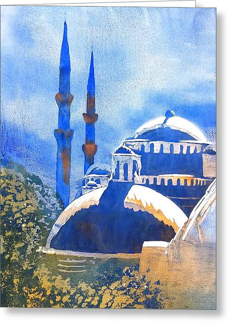 Blue Mosque In Blues Greeting Card