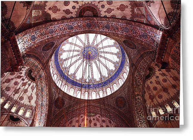 Blue Mosque Interior Greeting Card by John Rizzuto