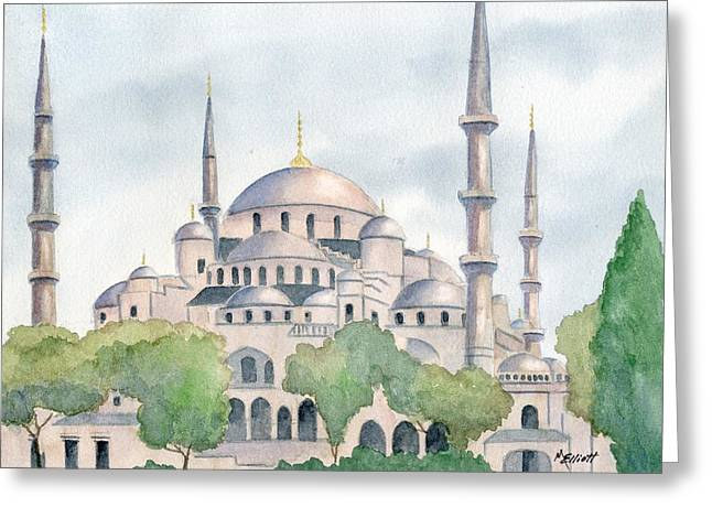 Blue Mosque Greeting Card by Marsha Elliott