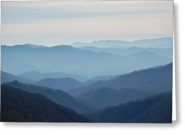 Blue Mountain Cascades Greeting Card by Mary Anne Baker