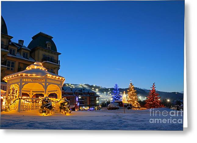 Blue Mountain Night Greeting Card by Charline Xia