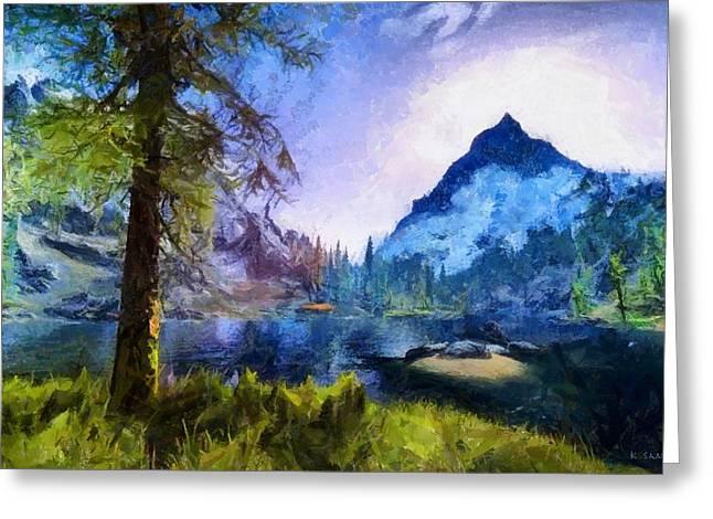 Blue Mountain Of Skyrim Greeting Card
