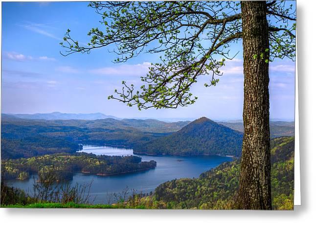Blue Mountains Greeting Card by Debra and Dave Vanderlaan
