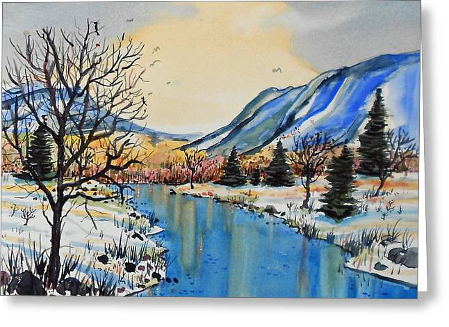 Greeting Card featuring the painting Blue Mountains by Terry Banderas