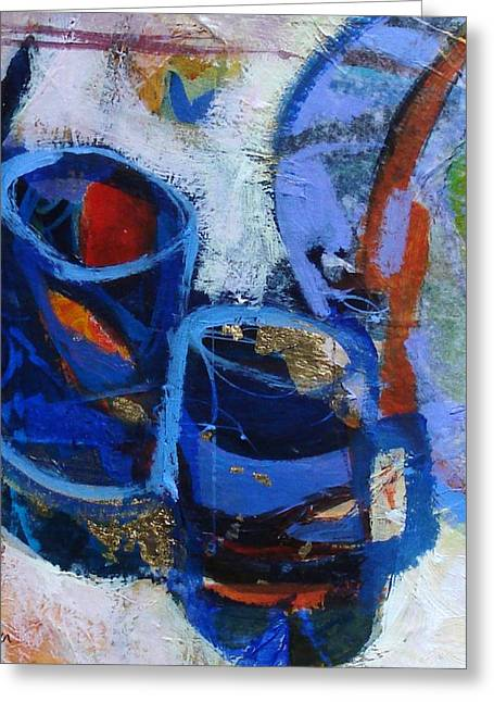 Blue Mugs Greeting Card by Dale  Witherow