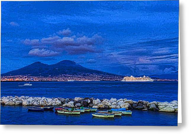 Blue Naples Night Cruising - Mediterranean Impressions Greeting Card