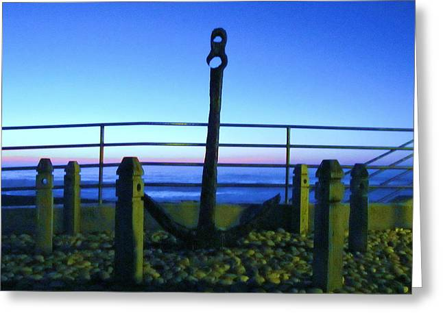 Blue Sunset At Anchor Greeting Card