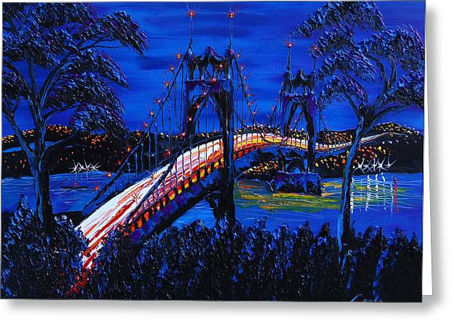 Blue Night Of St. Johns Bridge 12 Greeting Card by Portland Art Creations