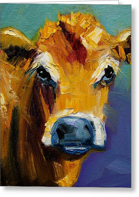 Blue Nose Cow Greeting Card by Diane Whitehead