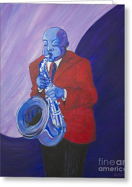 Greeting Card featuring the painting Blue Note by Dwayne Glapion