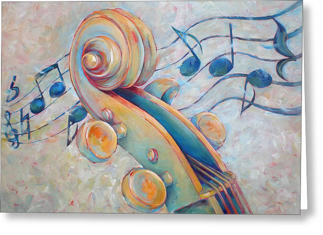 Blue Notes - Cello Scroll In Blues Greeting Card by Susanne Clark