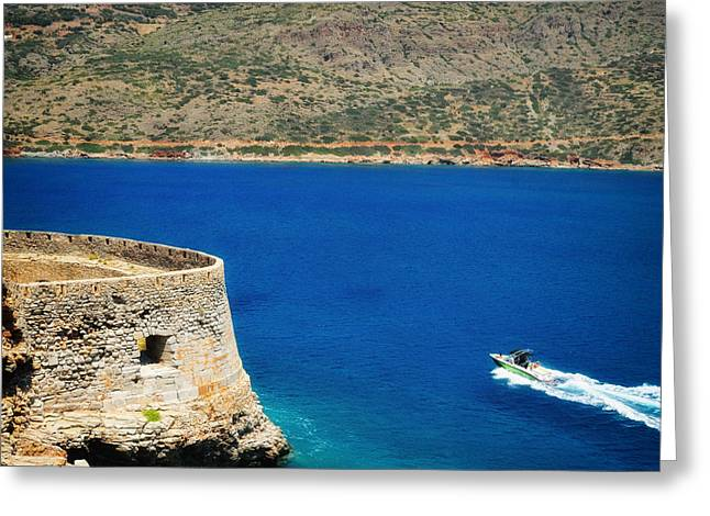 Blue Ocean And A Boat In Greece Greeting Card