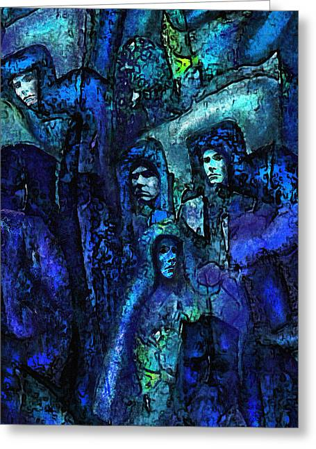 Blue O'clock Cloisters Greeting Card by Jane Schnetlage