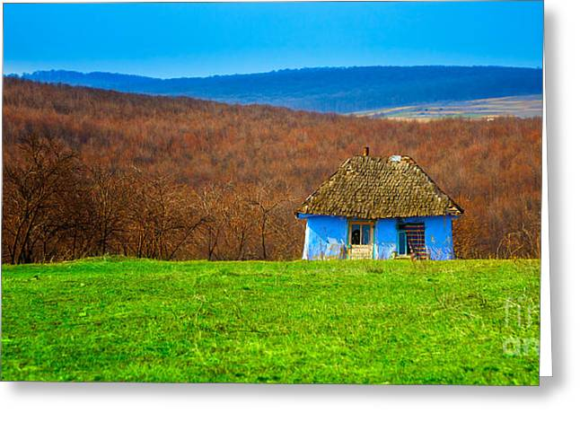 Blue Old Cottage Greeting Card