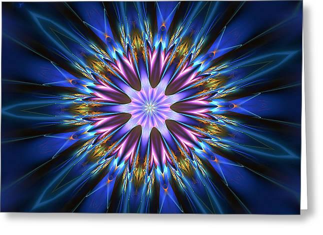 Blue Oomph Fractal Mandala Greeting Card