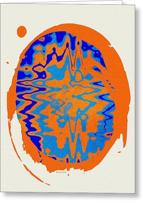 Blue Orange Abstract Art Greeting Card