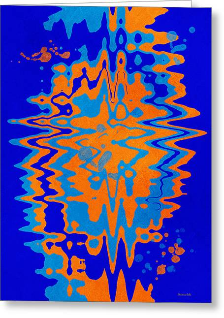 Blue Orange Abstract Greeting Card by Christina Rollo
