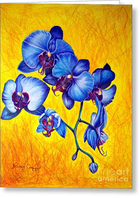 Greeting Card featuring the painting Blue Orchids 1 by Nancy Cupp