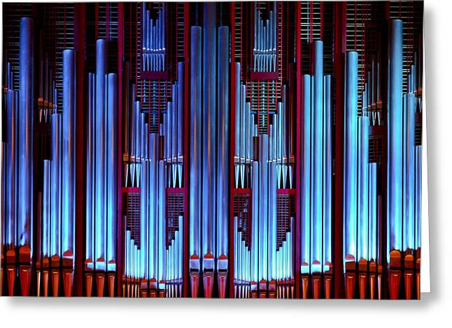 Blue Organ Pipes Greeting Card
