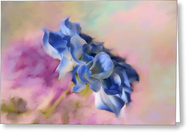 Blue Painted Flower Greeting Card by Mary Timman