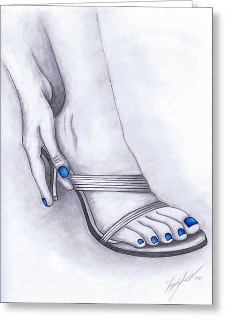 Blue Painted Toenails Greeting Card by Kamil Swiatek