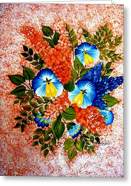 Blue Pansies Bouquet Greeting Card by Barbara Griffin