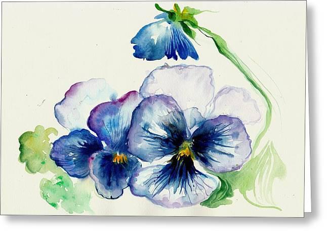 Blue Pansies Watercolor Greeting Card