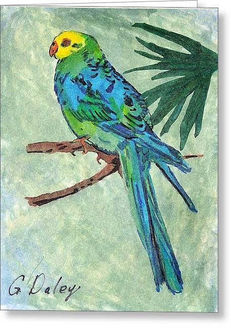 Blue Parakeet Greeting Card by Gail Daley