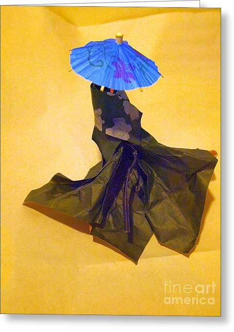 Blue Parasol Greeting Card