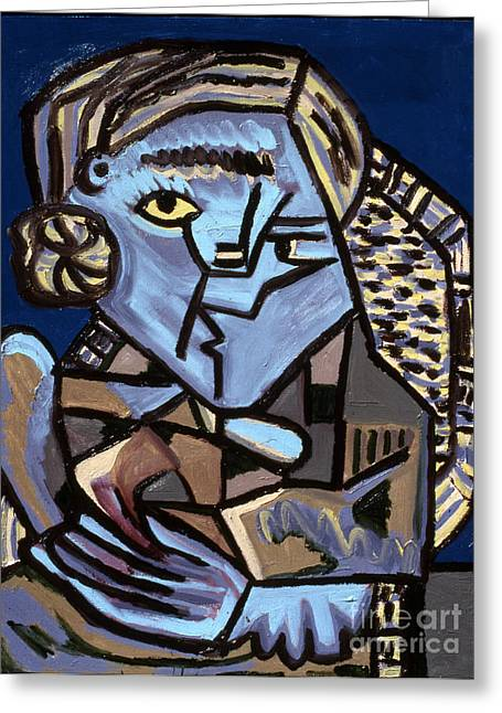 Blue Picasso Greeting Card