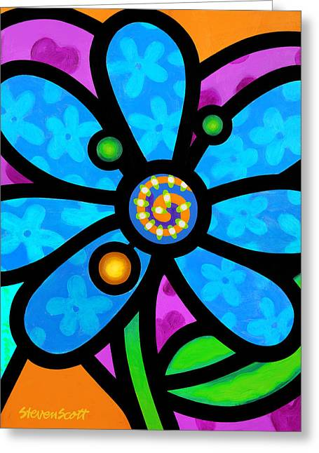 Blue Pinwheel Daisy Greeting Card