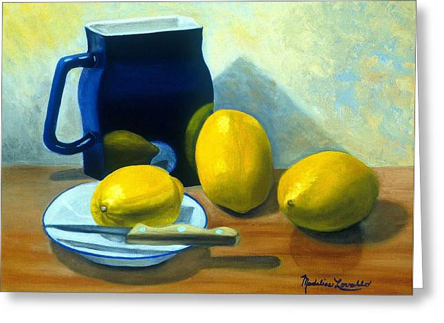 Blue Pitcher With Lemons Greeting Card